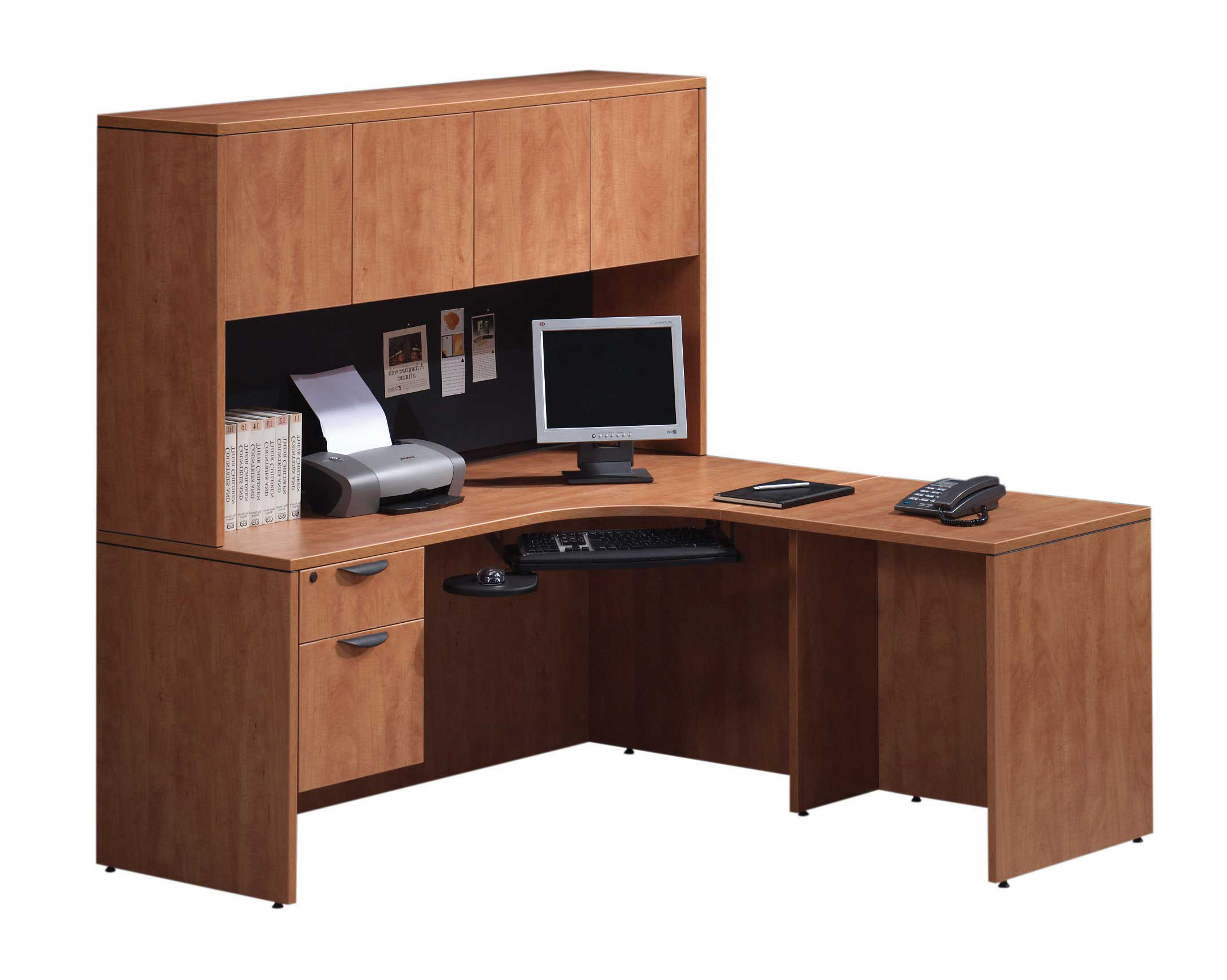 Superb img of Shape Desk w/Hutch with #91593A color and 2144x1712 pixels